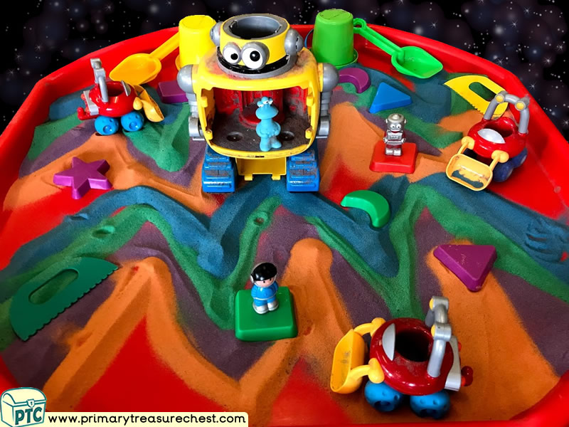 Space - Robot - Astronauts - Alien Themed Small World Multi-sensory Coloured Sand Tuff Tray Ideas and Activities