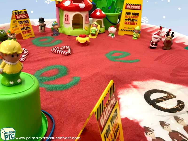 Christmas/Winter - Elves Themed Small World - Mark Making - Phonics - Phonic Readiness - Letter Sound Multi-sensory – Coloured Sand Tuff  – Tuff Spot