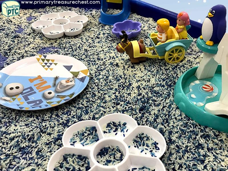 Christmas / Winter Themed Small World Play Tuff Tray Activity Idea with Rice