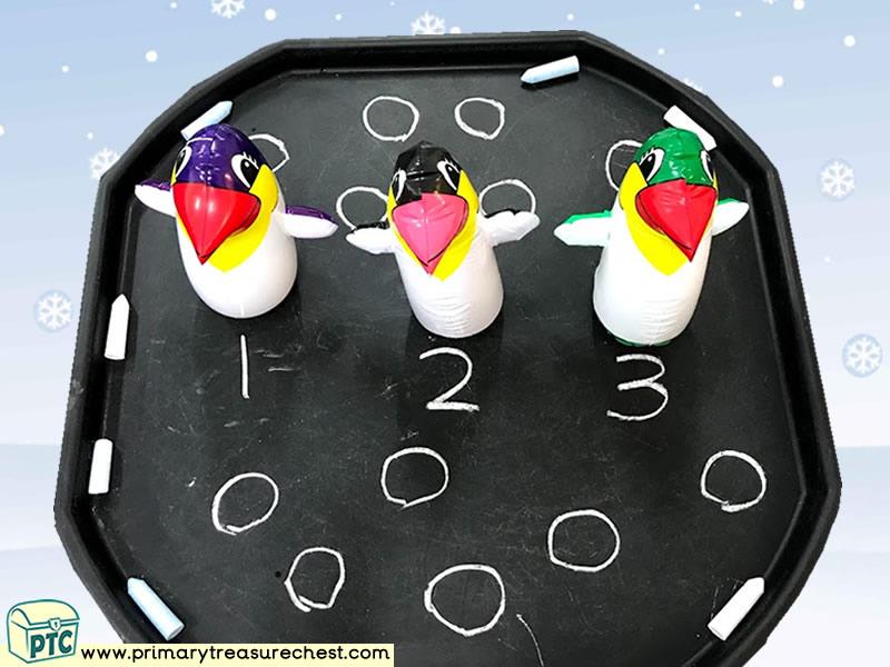 Winter Themed Small World Chalk Play Tuff Tray Activity Idea
