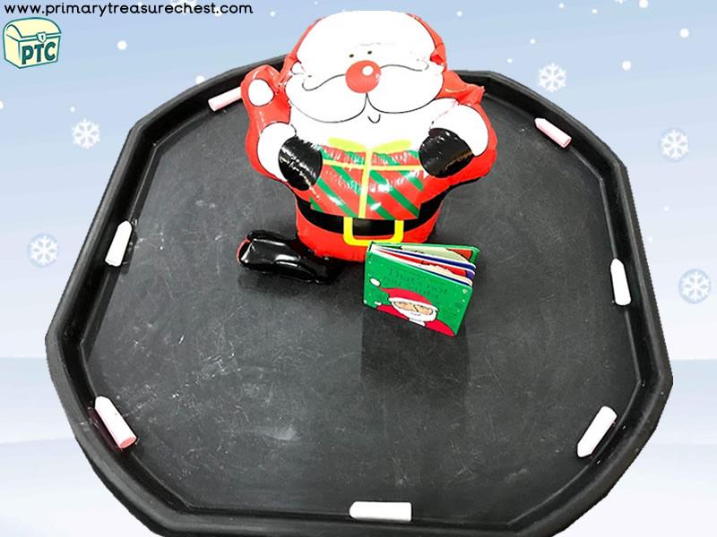 Christmas Themed Small World Chalk Play Tuff Tray Activity Idea