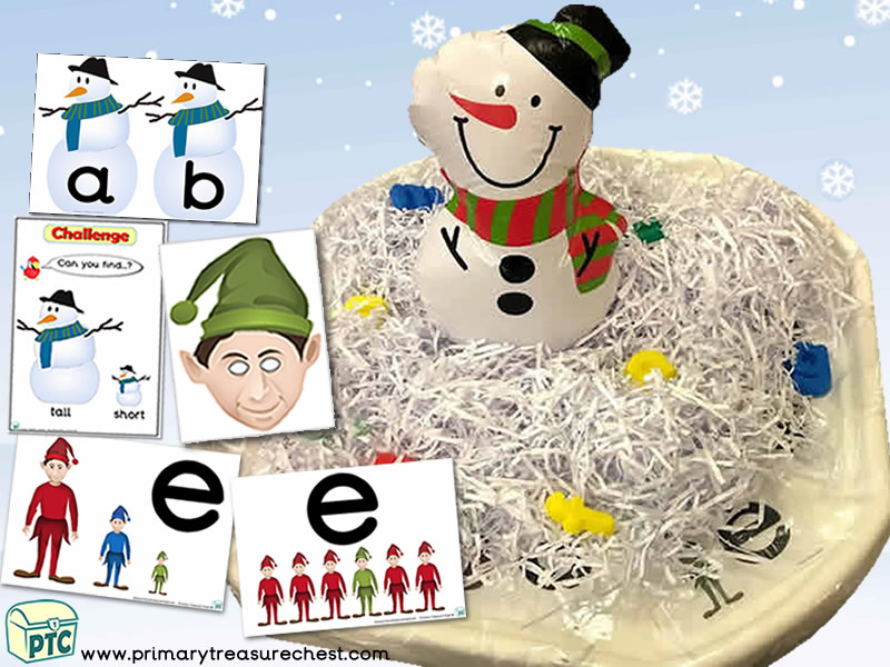 Christmas/Winter – Snowman Themed Small World - Phonics - Phonic Readiness  - Multi-sensory – Shredded Paper Tuff Tray Ideas and Activity