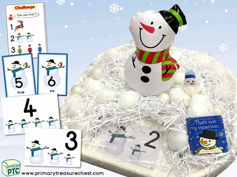 Christmas/Winter – Snowman Themed Small World - Numbers - Multi-sensory - Shredded Paper Tuff Tray Ideas & Activities