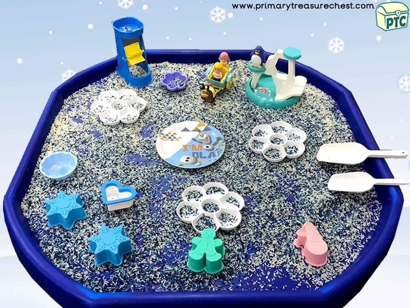 Christmas / Winter Wonderland Themed Small World Play Tuff Tray Activity Idea
