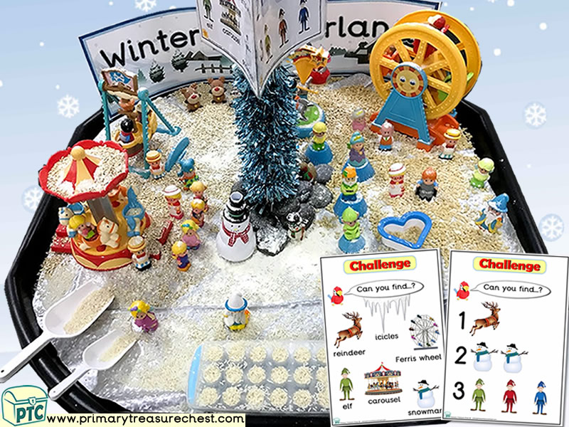 Christmas/Winter Wonderland - Fun Fair Themed Small World - Mark Making Multi-sensory – Cereals - Rice Tuff Tray Ideas and Activities