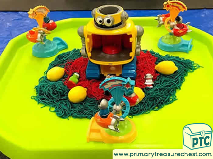 Alien Sensory Spaghetti Small World Play - Role Play Sensory Play - Tuff Tray Ideas Early Years / Nursery / Primary