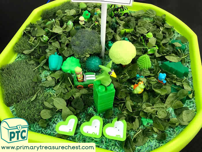 GREEN Themed sensory small world play  -  activity ideas - Role Play  Sensory Play - Tuff Tray Ideas Early Years – Tuff Spot / Nursery / Primary