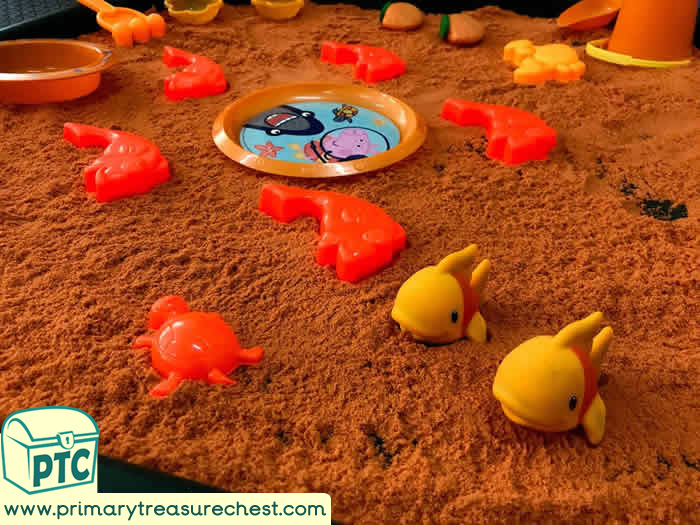 ORANGE  Under the Sea Themed Sand Play   Activity ideas - Role Play  Sensory Play - Tuff Tray Ideas Early Years – Tuff Spot / Nursery / Primary