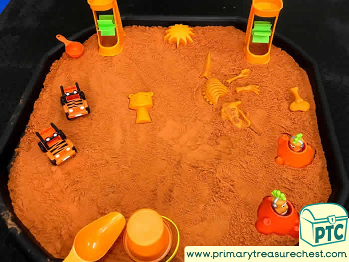 ORANGE themed SAND PLAY     Activity ideas - Role Play  Sensory Play - Tuff Tray Ideas Early Years – Tuff Spot / Nursery / Primary