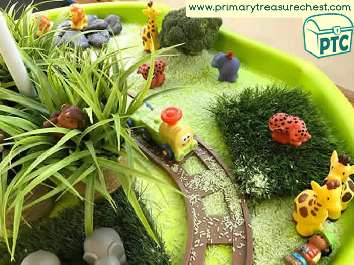 Trains and Safari Small World Play - Role Play Sensory Play - Transport Tuff Tray Ideas Early Years / Nursery / Primary