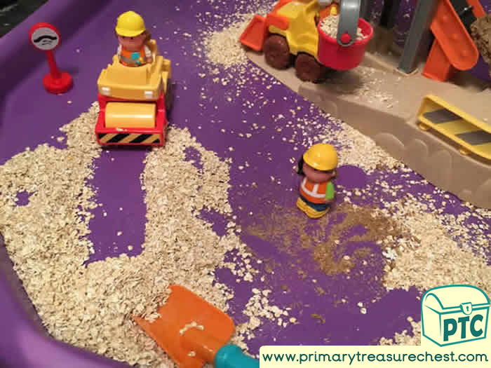 Building site Themed Tuff Tray for Toddlers-EYFS Children