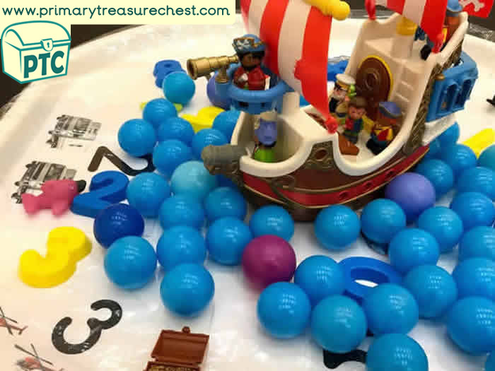 Pirates Role Play Sensory Play – Number - Pirate ship Small World Play - Tuff Tray Ideas Early Years / Nursery / Primary