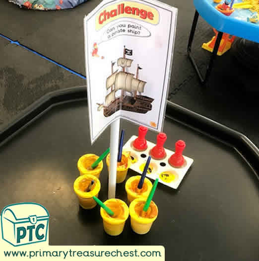 Pirates Creative Area Challenge - Role Play  Sensory Play - Tuff Tray Ideas Early Years / Nursery / Primary