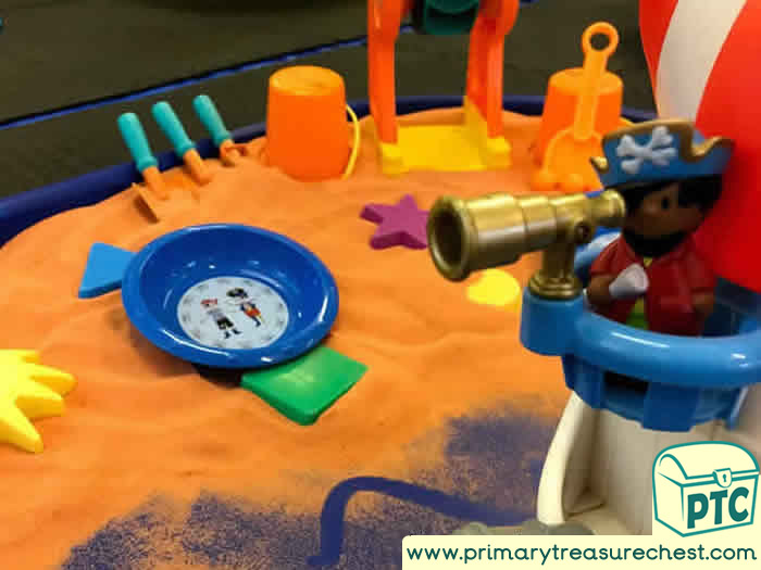 Pirates Orange Beach Sand Play - Role Play  Sensory Play - Tuff Tray Ideas Early Years – Tuff Spot / Nursery / Primary