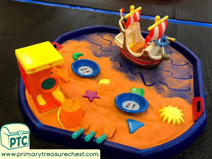 Pirates Orange Beach Sand Play - Role Play  Sensory Play - Tuff Tray Ideas Early Years – Tuff Spot Ideas / Nursery / Primary