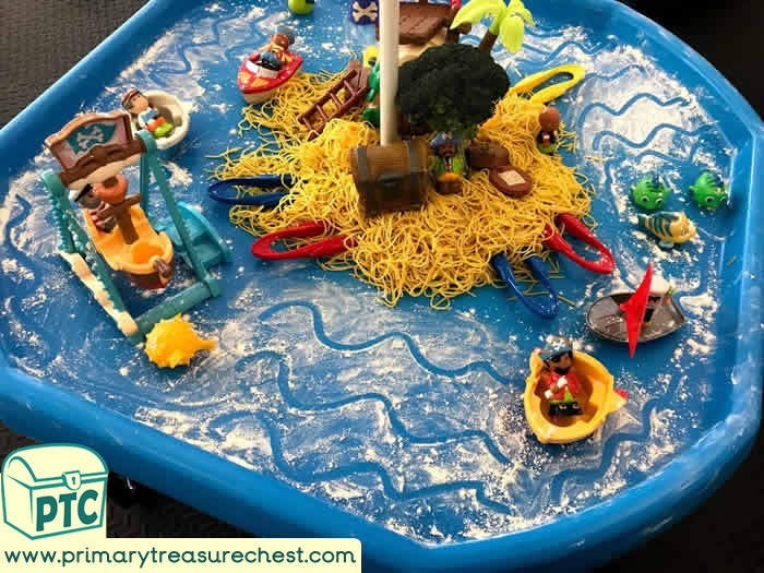 Pirates Small world sensory play and mark making - Role Play  Sensory Play - Tuff Tray Ideas Early Years – Tuff Spot / Nursery / Primary