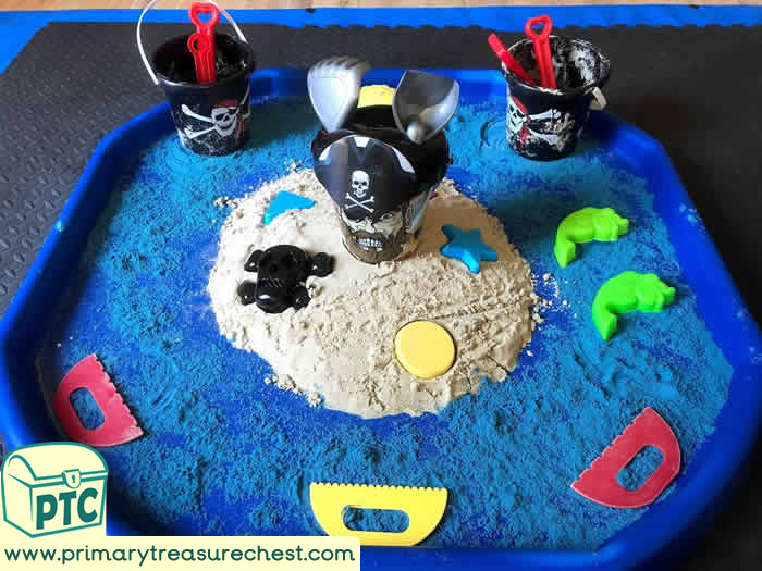 Pirates Themed Sand Play - Role Play  Sensory Play - Tuff Tray Ideas Early Years – Tuff Spot / Nursery / Primary
