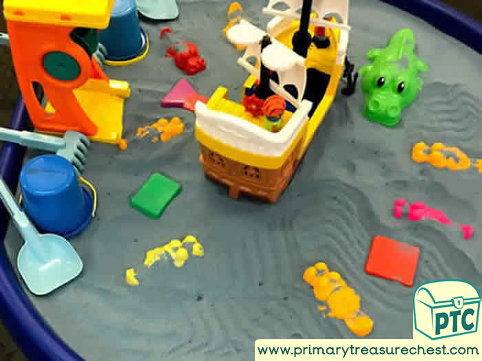 Pirates and Crocodiles Small World  Dry Sand Play Role Play  Sensory Play - Tuff Tray Ideas Early Years / Nursery / Primary