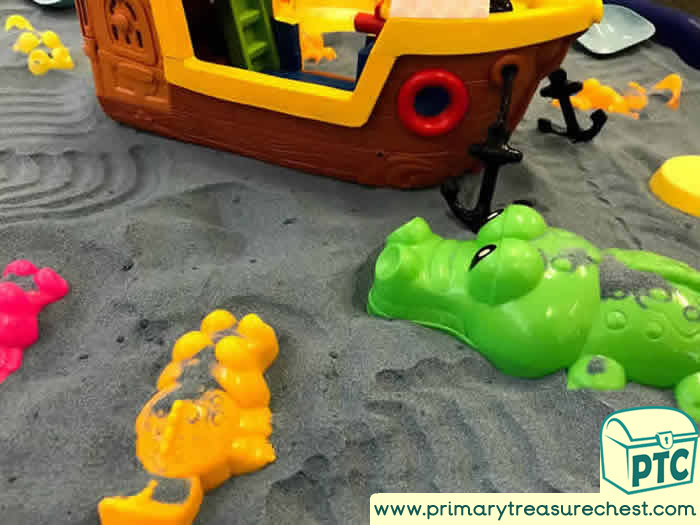 Pirates and Crocodiles Small World Sand Play Role Play  Sensory Play - Tuff Tray Ideas Early Years / Nursery / Primary