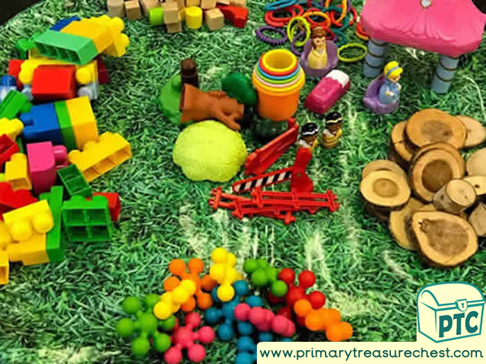 Princess Themed Construction Area - Role Play  Sensory Play - Tuff Tray Ideas Early Years / Nursery / Primary