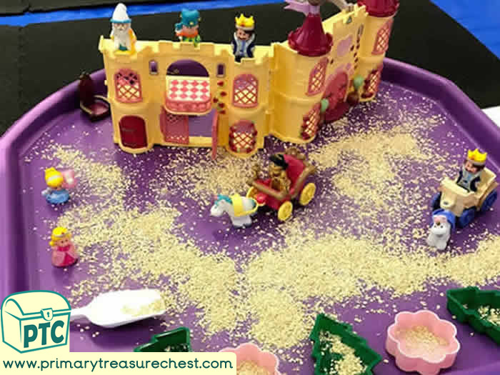 Princesses Castles Small World Play - Castles and Princesses Small World Play Role Play - Sensory Play - Tuff Tray Ideas Early Years / Nursery / Primary