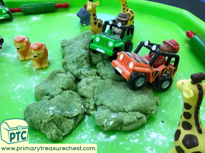 Jungle Jeeps Playdough Play - Transport Themed  Tuff Tray Ideas Early Years / Nursery / Primary