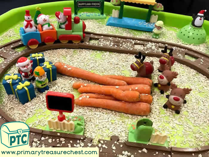 Santa Themed Small World Sensory Play tuff tray for Toddlers-EYFS Children