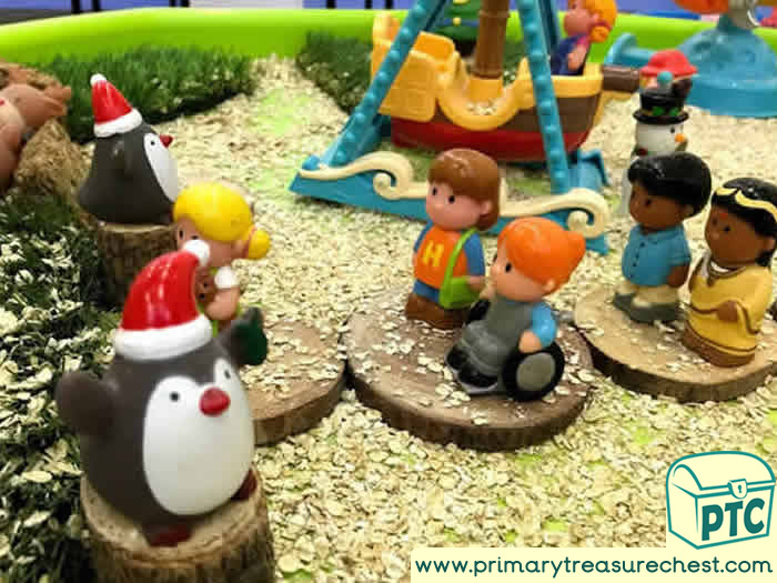 Santa Winter Wonderland waiting to see Santa tuff tray for Toddlers-EYFS Children