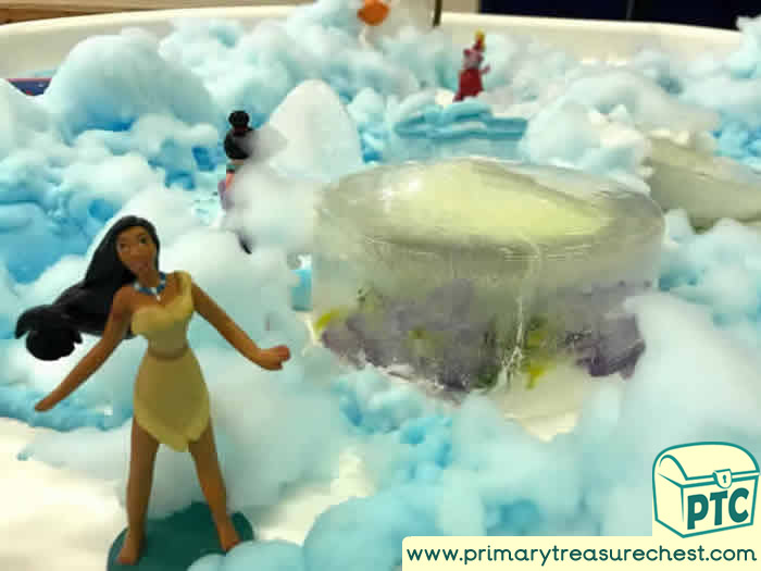 Science Discovery Area   Princess Themed Frozen Kingdom - Role Play  Sensory Play - Tuff Tray Ideas Early Years / Nursery / Primary