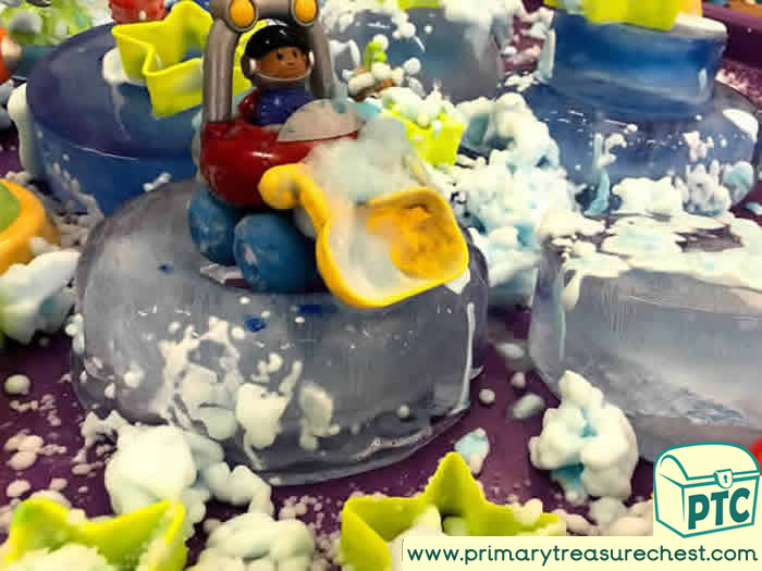 Space Frozen and Foamy Planet  -  Role Play Sensory Play - Tuff Tray Ideas Early Years / Nursery / Primary