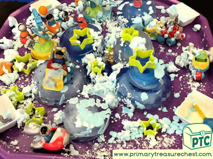 Space Frozen and Foamy Planet Discovery  -  Role Play Sensory Play - Tuff Tray Ideas Early Years / Nursery / Primary