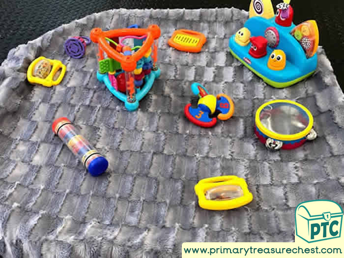 Space Music and Sensory Toy Area spot tray - Role Play Sensory Play - Tuff Tray Ideas Early Years / Nursery / Primary