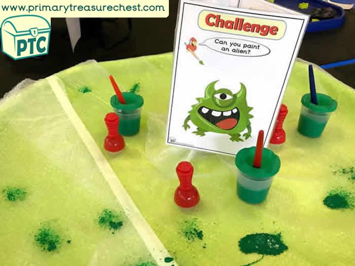 Classroom Ideas Maths ~ Space themed mark making creativearea ideas tuff tray