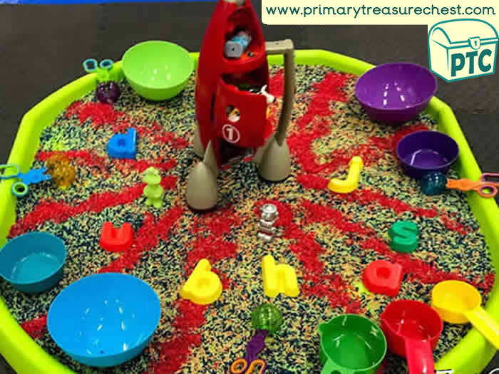 Space Sensory Phonic Readiness Activity - Tuff Tray Ideas Early Years / Nursery / Primary