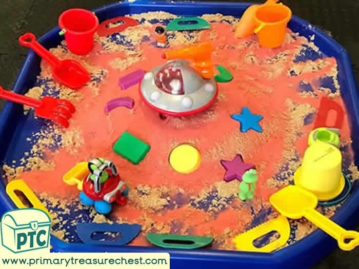 Space Spaceship Sand and shapes - Space themed Sand Role Play Sensory Play - Tuff Tray Ideas Early Years / Nursery / Primary