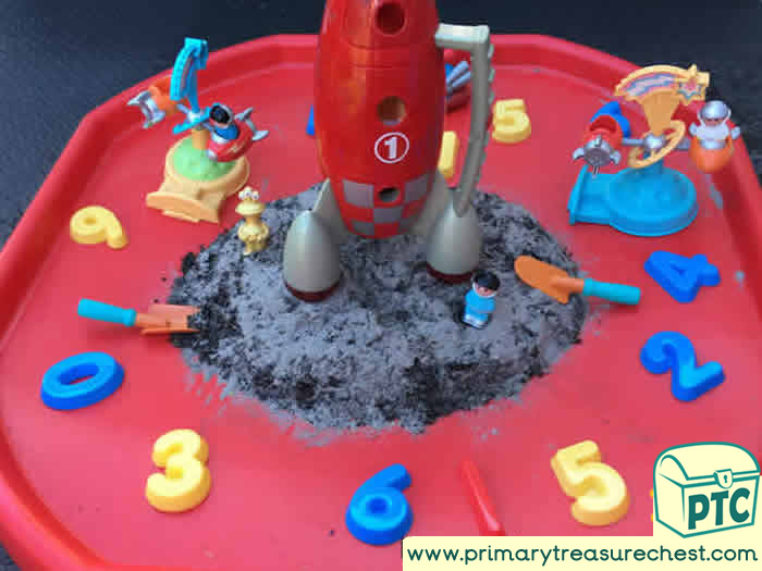 Spacehip Numbers Sand Play - Space themed Tuff Tray Ideas Early Years / Nursery / Primary