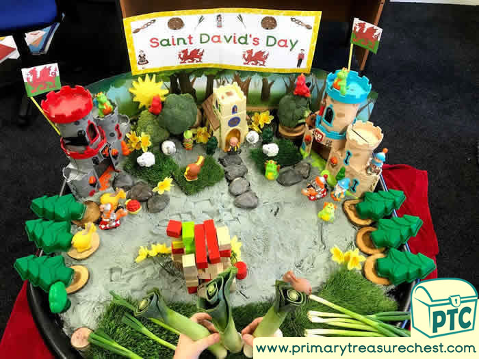 St David's Day Tuff Tray Small World Scene for Toddlers-EYFS Children