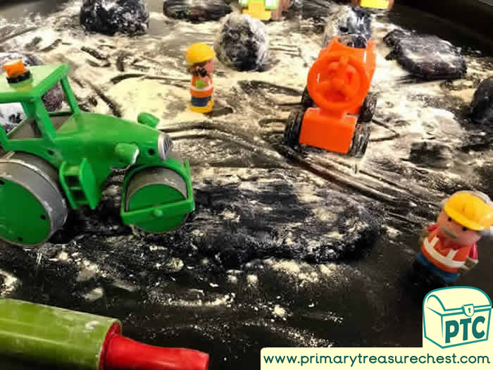 Small World Playdough Construction / Building Site - Transport Tuff Tray Ideas Early Years / Nursery / Primary