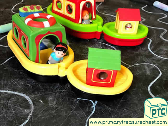 Transport themed tuff tray with Boats -  Marking Making  - Small World Play