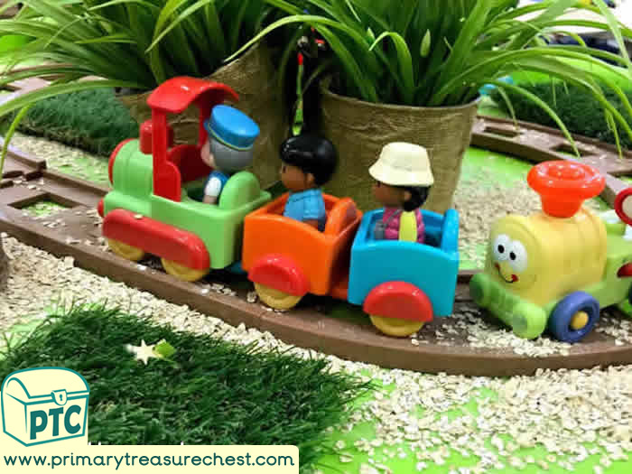 Safari Small World Play with Trains - Transport Role Play Sensory Play - Tuff Tray Ideas Early Years / Nursery / Primary