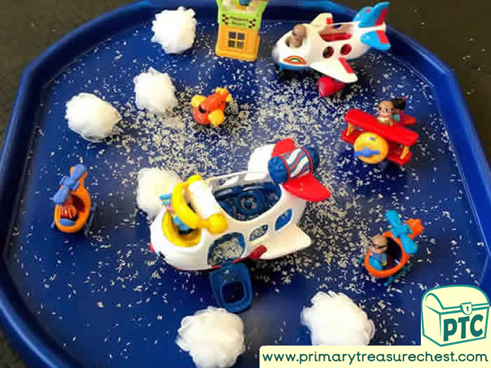 Airport and Planes - Sensory Small World Play - Tuff Tray Ideas Early Years / Nursery / Primary