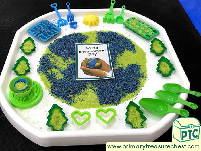 World  Environment Day Sensory Play  tuff tray idea