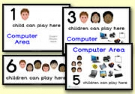 How Many Children... Computer Area Signs