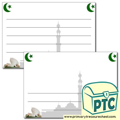 Ramadan Landscape Page Border/Writing Frame (wide lines)