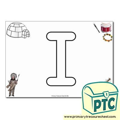 'I' Uppercase Bubble Letter A4 poster with high quality realistic images