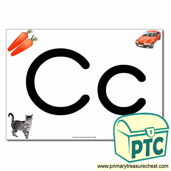 'Cc' Upper and Lowercase Letters A4 posterposter with realistic images