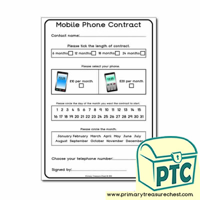 Mobile Phone Contract Worksheet