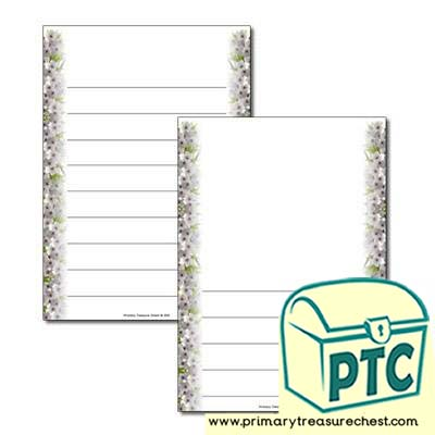 Cherry Blossom Page Border - Wide Lines