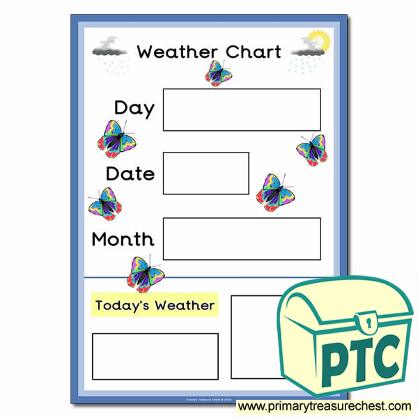 Weather Chart A3 Poster With Butterflies Primary