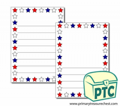Red, White and Blue Stars Page Border/Writing Frame (wide lines)
